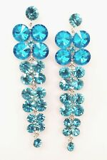 Exquisitely Teal Blue Iridescent Crystals Waterfall  Drop Style Prom  Earrings
