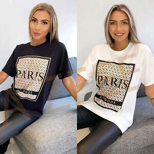 Women Short Sleeve Paris Slogan Printed T-Shirt Ladies Oversized Casual Tee Tops