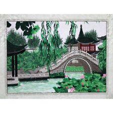 """Chinesisches Bild """"Bogenbrücke"""", Stickbild, Stoffbild, Stickerei, Stickkunst"""