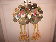 "2 Vintage 22"" Turkey Door Hanger Thanksgiving Autumn Fall Festive Design AWESOME"