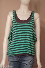 Ella Moss Kit Green & Gray Striped Kat Layered Tank Top Shirt XS Extra Small