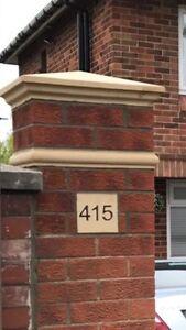 cast stone pier caps, driveways, walls,