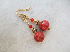 Beautiful Red & Gold Handpainted Porcelain and Crystal Drop Dangle Earrings