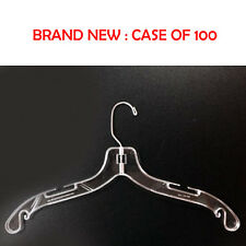"100 Hangers 17"" Wide Dress Shirt Clothes Plastic Clear Retail Store Swivel Hook"