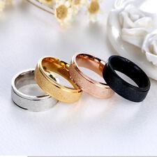 Men & Women Scrub Stainless Steel Silver & Gold Band Wedding Engagement Rings