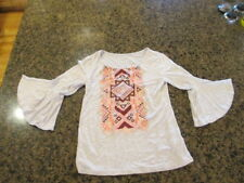 Justice shirt Top girl's 10 beige long sleeve for you with love flared cuffs