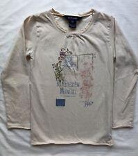 Ralph Lauren Polo Shirt Size 6X EUC Cream w/ Embroidery Garden Scene Long Sleeve