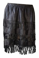 *GUCCI* SHREDDED AND TASSLED LEATHER MINI SKIRT (IT 40)
