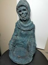 "Mike Makras Large Grimm Reaper Skull Face Statue 16"" Tall Rare Odd"