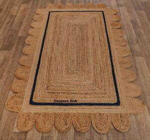 Scallop Jute Rug Natural Braided 100% Jute Rug Boho Carpet Home Decor Area Rug