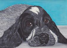 Cocker Spaniel Card by Sarah Sample Art with paw print cut out detail inside