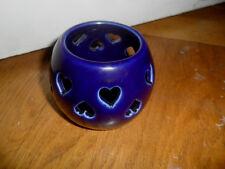 Teelichthalter, dunkelblau,rund mit durchbrochene Herzen , Glas Teelichter