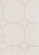 Tin Ceiling Wallpaper in White, Tan and Pink   FD58720
