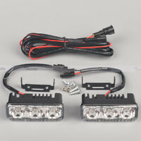 2Pcs 3 LED White High Power Car DRL Daytime Running Light Fog Lamp Universal 12V