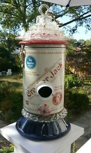 Handmade Decorative Bird House, Vtg. Crackerjack Tin, Vtg Glass, Red/Blue/Wht