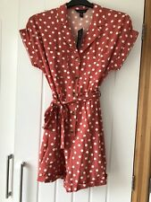 New Look Coral/pink Spotty Playsuit Size 12 BNWT
