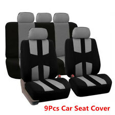 9Pcs Black+Gray Car Seat Cover Car Full Styling Seat Cover For Crossovers Sedans