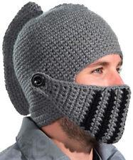Knight Beanie Knitted Hat Winter Ski Novelty Beenie Grey Articulated Visor Weird