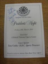 18/03/1988 Newport table ronde: présidents de nuit à Lilleshall Sports Nationaux C
