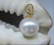 AAA+ 11-10mm real natural south sea white round pearl pendant 14k gold