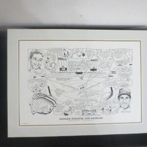 1990 Sporting News 16x22 Litho by Amadee Dodger Stadium Koufax/Garvey