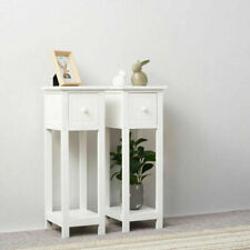 2Pcs Tall Bedside Table Bedroom Nightstand Hallway Desk Cabinet Furniture White
