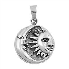 Plain Moon and Sun .925 Sterling Silver Pendant