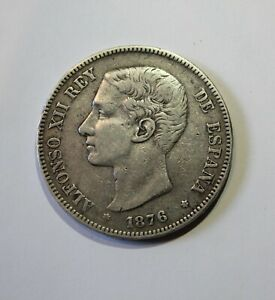 1871-1899 Spain 5 Pesetas Spanish 25 Gr 90% Silver Coin