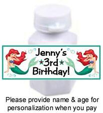 30 Little Mermaid Ariel Birthday Party Baby Shower Mini Bubble Bottle Stickers