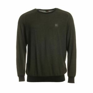 HUGO BOSS Mens Khaki Green /& Red Dicago 194 Reverse Logo Sweater M L BNWT