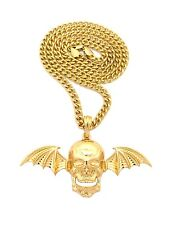 """NEW SKULL WING AVENGED SEVENFOLD PENDANT &5mm/24"""" CUBAN CHAIN NECKLACE XSP473CC"""