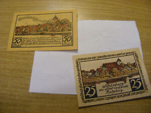 2 x 1923 Germany 25 & 50 Pfennig Notgeld Banknotes same set, Used but stil crisp