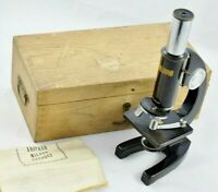 Vintage Milbro Foreign Microscope + Ocular & Objective Lenses - Cased Excellent