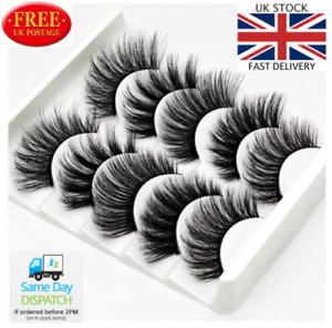 5Pair 3D Mink False Eyelashes Wispy Cross Thick Soft Fake EyeLashes D curl
