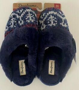 NEW Dearfoams Slippers Women's Blue Knit Fur Soft Close Toe S M L 5 6 7 8 9 10