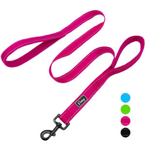 Reflective Dog Leash with Dual Traffic Padded Handles Training Control Leads 48""