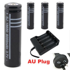 4x 18650 Rechargeable Battery + Charger LI-ION Flashlight Protected AU stock