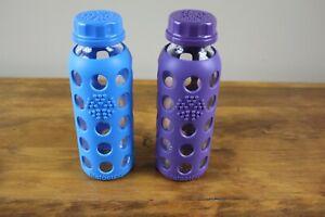 2 - Life Factory 9 /10 Oz Drinking Bottles- Blue & Purple