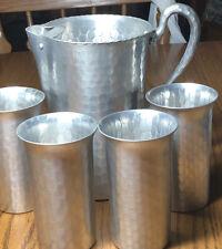everlast forged aluminum 4 Glasses /pitcher 987 Vintage Mid Century