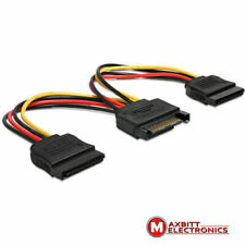 New listing Power Sata male to 2 x Sata 15 pin female 15 cm convert one to two Sata Y cable