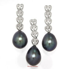 Black Cultured Pearl Earrings & Pendant; 14k White Gold & Diamonds Hearts TPJ