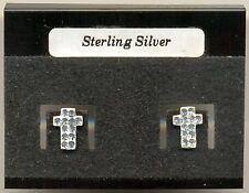 Cross Clear Crystal Sterling Silver 925 Studs Earrings Carded