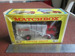 Matchbox K-7 S.D. Refuse Truck King Size Lesney Made In England Boxed Vintage
