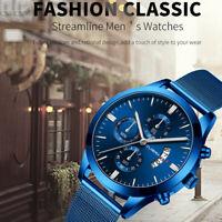 2019 Trendy Watch Men's Business Steel Belt Three Eyes Calendar Quartz Watches