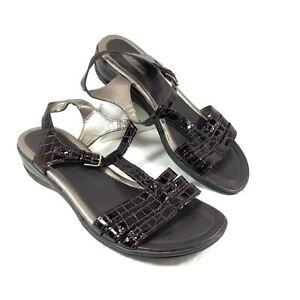 ECCO Sensata T-Strap Sandals Brown Croc embossed leather Sz 41 US Sz 10-10.5