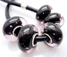 5PCS silver hallmarked Single Core Murano Glass Beads fit Charms Bracelet V6