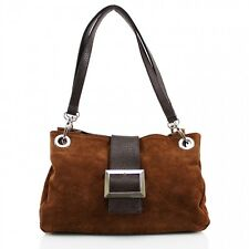 New Ladies Real Italian Suede Leather Buckle Women Shoulder Clutch Tote Hand Bag