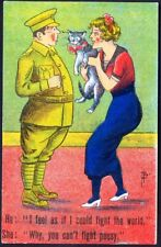 Pretty Girl Shows Soldier Her Pussy. WW1 Comic Postcard. Free UK Postage