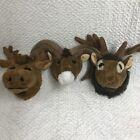 Plush Faux Taxidermy Ram Elk Buck Moose Mounted Head Wall Hanging Baby Decor