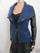 VINCE Leather Sleeve Boucle Jacket Blue Marine Black Size 6 ~NWT~ $695